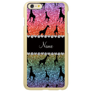 Personalized name bright rainbow glitter giraffes incipio feather® shine iPhone 6 plus case