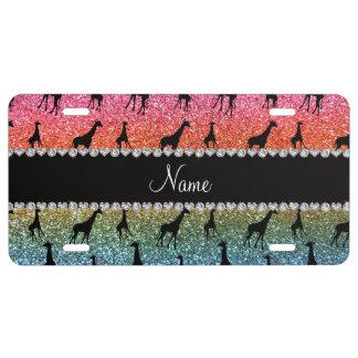 Personalized name bright rainbow glitter giraffes license plate