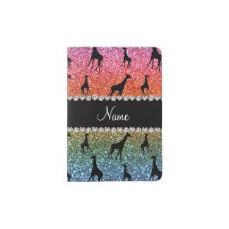 Personalized name bright rainbow glitter giraffes passport holder
