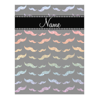 "Personalized name bright rainbow glitter mustaches 8.5"" x 11"" flyer"