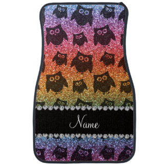 Personalized name bright rainbow glitter owls car mat