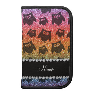 Personalized name bright rainbow glitter owls organizers