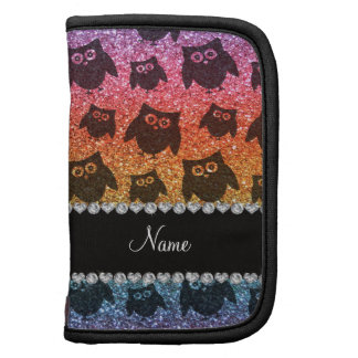 Personalized name bright rainbow glitter owls planners