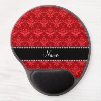 Personalized name bright red damask gel mouse pad