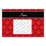Personalized name bright red damask photo print