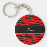 Personalized name bright red zebra stripes key chain