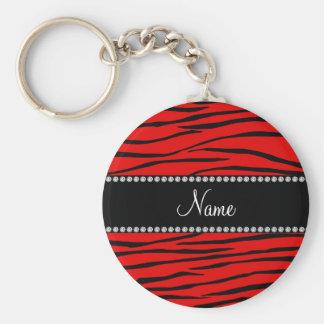 Personalized name bright red zebra stripes keychain