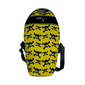 Personalized name bright yellow skulls pattern courier bag