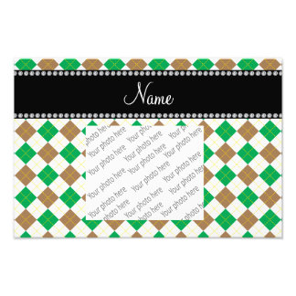 Personalized name Brown and green argyle Photo Print