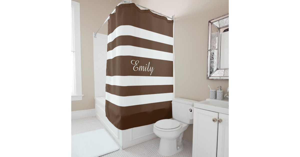 Personalized Name Brown And White Bold Stripes Shower Curtain ...