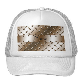 Personalized name brown diamond plate steel mesh hat