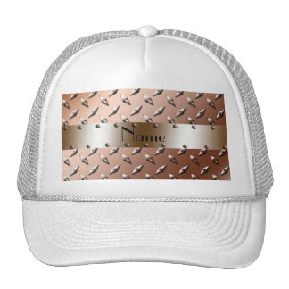 Personalized name brown diamond plate steel trucker hat