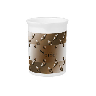 Personalized name brown diamond plate steel pitchers