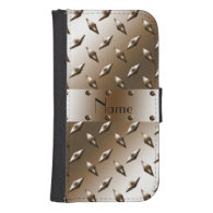 Personalized name brown diamond steel plate galaxy s4 wallets
