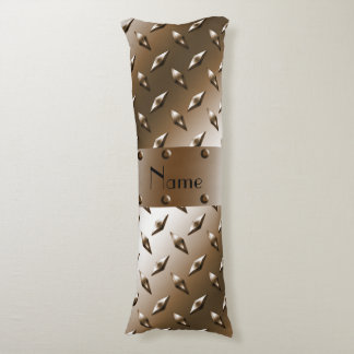 Personalized name brown diamond steel plate body pillow