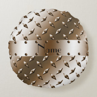 Personalized name brown diamond steel plate round pillow