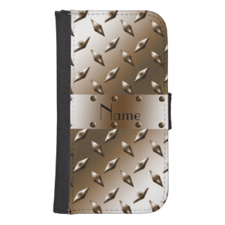Personalized name brown diamond steel plate wallet phone case for samsung galaxy s4