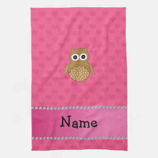 Personalized name brown owl pink hearts hand towels
