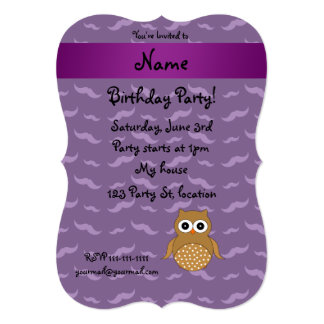 Personalized name brown owl purple mustaches card