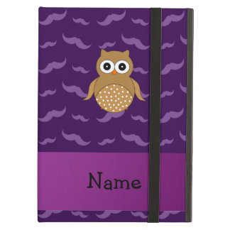 Personalized name brown owl purple mustaches case for iPad air