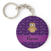 Personalized name brown owl purple mustaches keychain