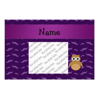 Personalized name brown owl purple mustaches photo print