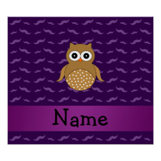 Personalized name brown owl purple mustaches poster