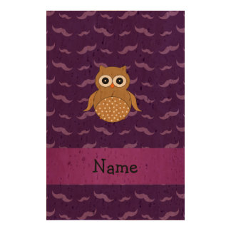 Personalized name brown owl purple mustaches queork photo print