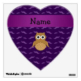 Personalized name brown owl purple mustaches wall decals