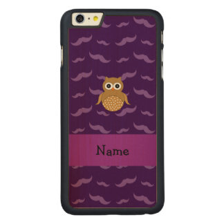 Personalized name brown owl purple mustaches carved® maple iPhone 6 plus case