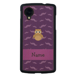Personalized name brown owl purple mustaches carved® maple nexus 5 slim case