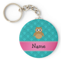 Personalized name brown owl turquoise half circles keychain