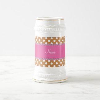 Personalized name brown polka dots pink stripe 18 oz beer stein