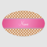 Personalized name brown polka dots pink stripe oval sticker