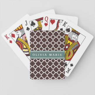 Personalized Name Brown Quatrefoil Pattern Card Decks
