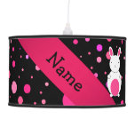 Personalized name bunny black pink polka dots ceiling lamps