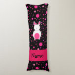Personalized name bunny black pink polka dots body pillow