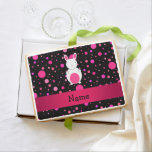 Personalized name bunny black pink polka dots jumbo cookie