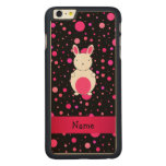 Personalized name bunny black pink polka dots carved® maple iPhone 6 plus case