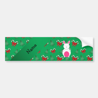 Personalized name bunny green candy canes bows car bumper sticker
