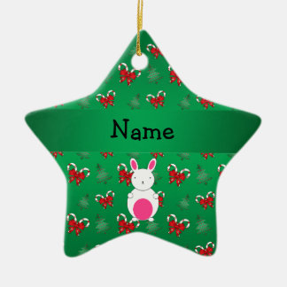 Personalized name bunny green candy canes bows ceramic ornament