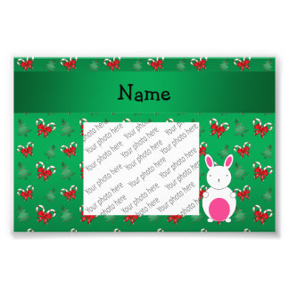 Personalized name bunny green candy canes bows photo art