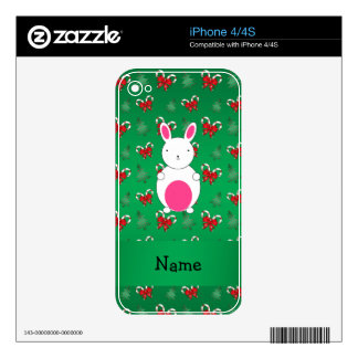 Personalized name bunny green candy canes bows iPhone 4S decal