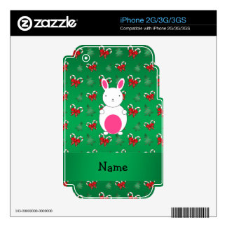 Personalized name bunny green candy canes bows iPhone 3G decal