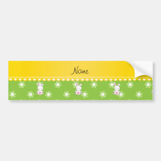 Personalized name bunny green flowers car bumper sticker