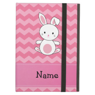 Personalized name bunny pink chevrons iPad air covers