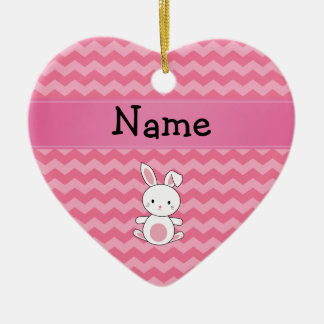 Personalized name bunny pink chevrons ornament