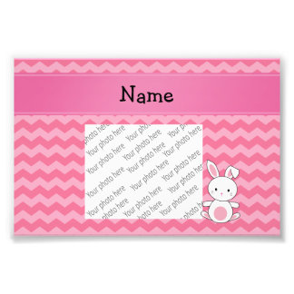 Personalized name bunny pink chevrons photograph