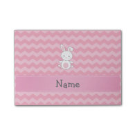 Personalized name bunny pink chevrons post-it® notes