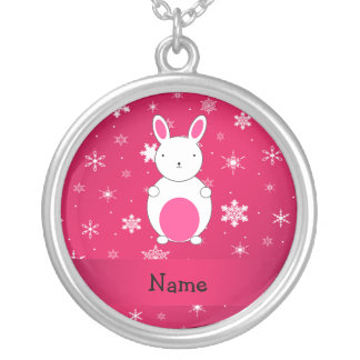 Personalized name bunny pink snowflakes round pendant necklace